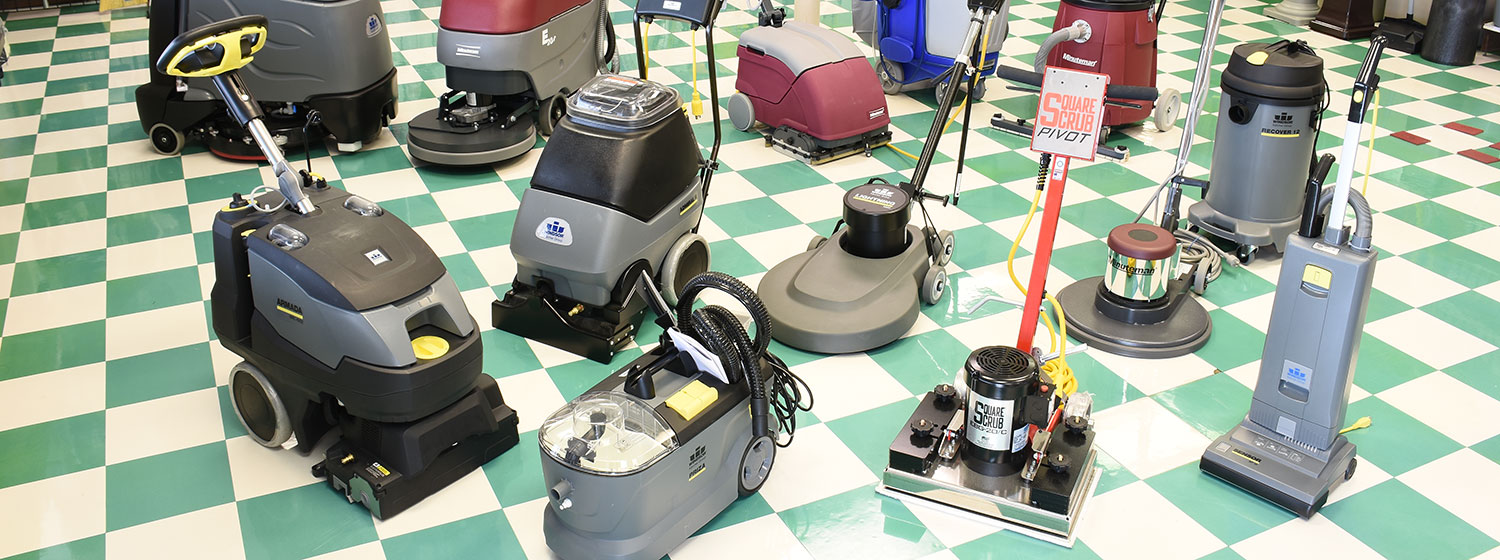 Floor machines in showroom
